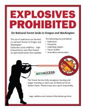 Red border with explosives prohibited text; figure shooting tracer ammo; exploding target; respected access is open access logo