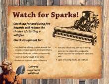 Watch for Sparks flyer with tractor and Smokey Bear