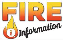 """Fire Information with flame and """"I"""" for information inside a quote bubble"""