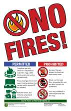 Nor fires in red at a slant, with red slash prohibited symbol over flames. Icons of prohibited and permitted activities