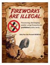 Fireworks are illegal, prohibited graphic with fireworks, Smokey Bear with Shovel