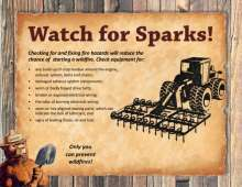 Watch for Sparks flyer with a tractor, tips and Smokey Bear