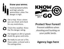 Know Before you go hunting icon with rifle and target, ammo types, bullet holes for decorative element to emphasize tips
