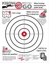 Know before you go when huntinhg and shooting, with fire prevention tips and circle target in center