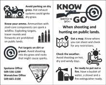 Know before you go when hunting and shooting on public lands; get a map, check the weather, be ready to put out a fire; avoid parking on dry grass; know your ammo; put targets on dirt or gravel, BLM logo