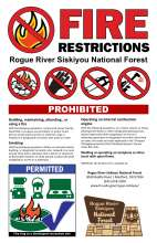 Fire restrictions on the Rogue River-Siskiyou National Forest; Red prohibited symbol with flame underneath; graphics of permitted campfire alternatives.
