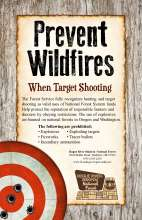 Prevent WIldfires when target shooting, on a rustic background with red and white target in lower corner