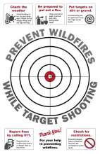 Prevent Wildfires while target shooting, 11x17 circle target with fire prevention tips