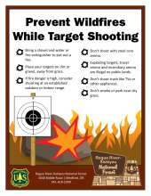 Prevent wildfires while target shooting. Border with target sheet on a post, in front of a rock and spark near burning grass in background. Forest Service shield, National Forest Portal sign