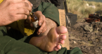 Photo of a firefighter putting medicine on their foot.