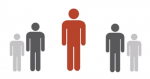 Clip art graphic of 5 people standing in a v-shape.