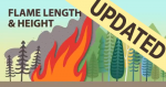 Cartoon image of a flame in the foreground of trees depicting flame length and height updated.
