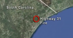 Aerial image of the topography of the South Carolina coast where the Highway 31 fire occurred.