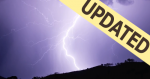 Photo of a bolt of lightening during a storm at night with updated banner.