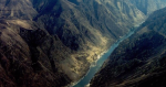 Aerial picture of a deep river canyon in the Salmon River Breaks.