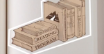 "Drawing of books on a bookshelf with a title that reads ""professional reading program"""