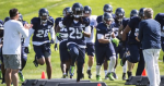 Photo of Seattle Seahawks team doing drills