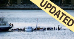 In this photo, passengers wait to be rescued on the wings of a US Airways Airbus 320 jetliner that safely ditched in the frigid waters of the Hudson River in New York with updated banner..