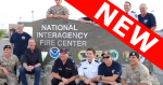 "Photo of international fire crew in front of NIFC sign. With ""NEW"" Banner."
