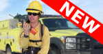 Firefighter talking on a radio. NEW banner.