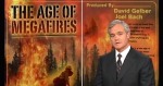 "Photo of news caster in front of graphic visual for the documentary ""Age of Megafires"" flames burning timber."