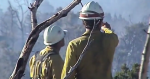 Photo of two fire fighters with backs turned while they point out to a valley below.