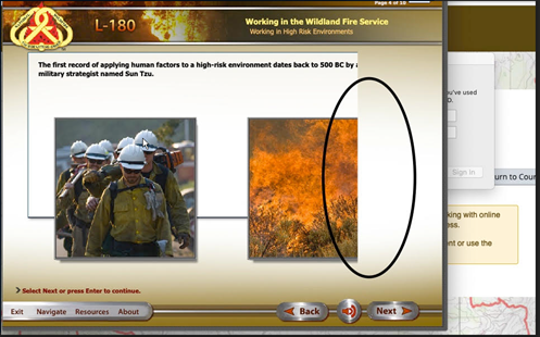screenshot of L-180 Content Screen with sidebar missing