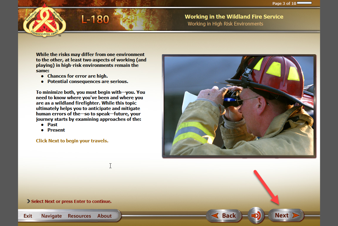 Screenshot of the l-180 content page with an arrow pointing to the next button.