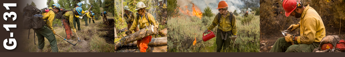 G-131 Decorative banner. Four photos of wildland fire operations. Six firefighters work with hand tools to build a fire break on a grassy hill. Three firefighters haul cut logs off a hill. A female firefighter uses a drip torch to ignite grass and sage to create a fire break, with flames in background. A firefighter sits to work on sharpening his Pulaski hand tool.
