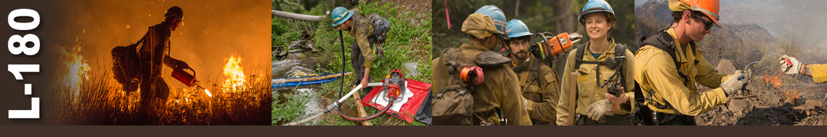 L-180 Decorative banner. Group of photos depicting wildland firefighters performing various duties.