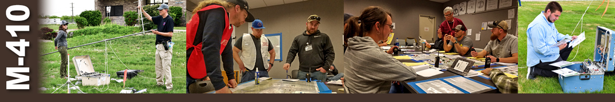 Decorative banner: Four photos of wildfire training classes. Two people erecting a communications antenna. Three students gather around maps on a table. An instructor shows three students sitting at a table how to do a project. A man kneels on grass in front of a communications case reading instructions.