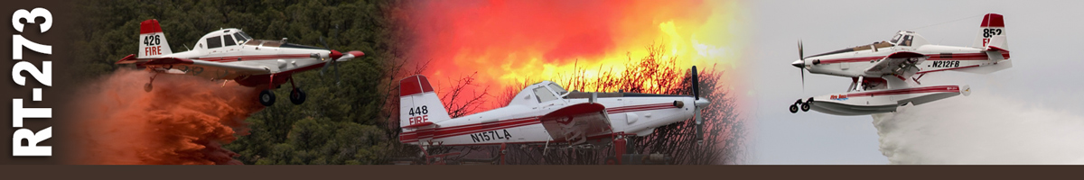 Decorative banner: Three photos of single engine airtanker (SEAT) operations. A SEAT drops retardant over tree canopy. A SEAT sits on tarmac with burning brush in background. A SEAT drops a load of water in mid-air.