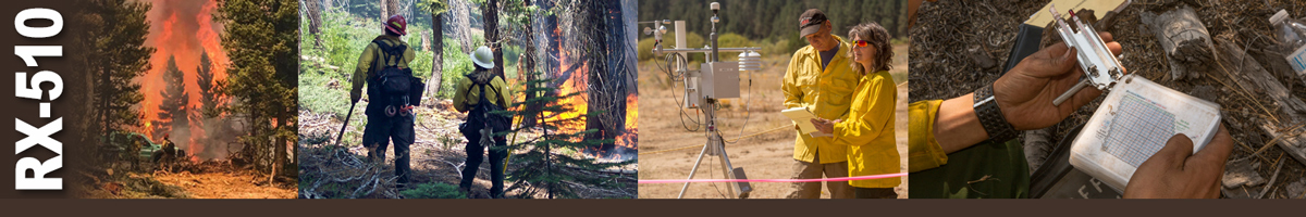RX-510 Decorative banner. Four photos of wildland fire operations. Two men stand beside a truck as a huge forest fire rages behind them. Two firefighters review burning underbrush in the forest. Two weather specialists stand by a RAWS weather station reviewing papers. Photo of hands holding a weather gage and a booklet of charts.