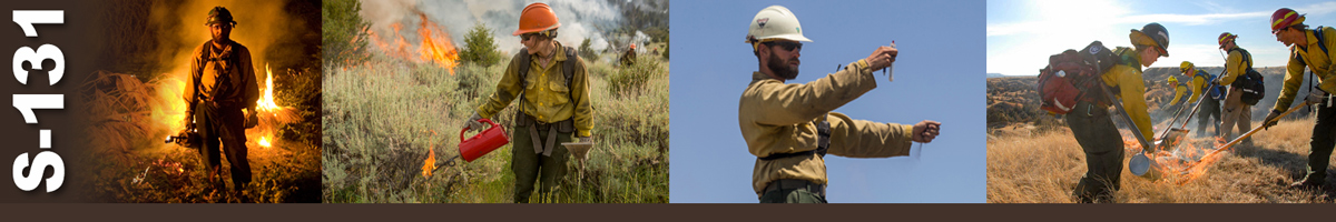 S-131 Decorative banner. Group of photos depicting wildland firefighters performing various duties.
