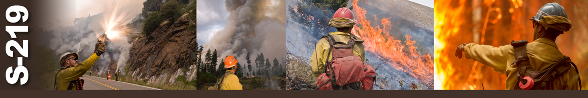Decorative banner: Four photos of wildland firefighters monitoring and igniting flares during fire operations. Firefighter firing flare into air, firefighter looking up at heavy smoke plume from fire, firefighter watching as heavy flames burn a hillside, firefighter stands facing flames pointing and giving directions.