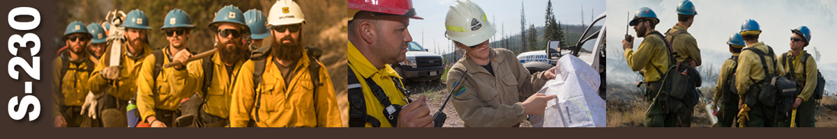 Decorative banner: Three photos of wildland firefighters. Firefighters marching single file with crew boss in lead, crew boss discusses operations with crew member while reviewing a map, group of five firefighters stand on top of mountain while crew boss uses handheld radio to send information.
