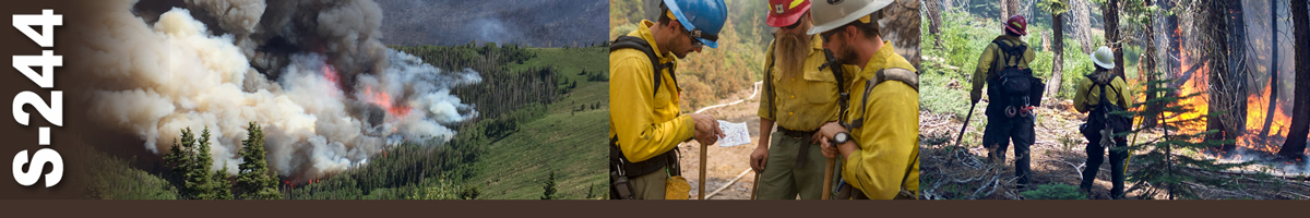 Decorative banner: Three photos of wildland fire activities. A large fire burns in a timbered valley throwing heavy smoke plumes. Three firefighters stand in a group reviewing a paper while leaning on tools. Two firefighters observe fire burning through trees and heavy underbrush as it travels up a slope.
