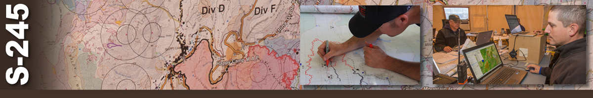 Decorative banner: One background photo of a map and two inset photos depict wildland fire map interpretation. Background image of a topo map with division locations. Inset of a man using a marker to draw on a topo map. Second inset of two men sitting at tables in a tent working on laptops.