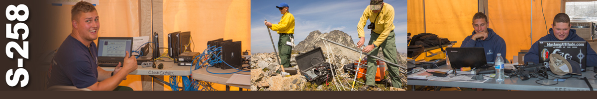 S-258 Decorative banner: Three photos of wildland fire telecommunications operations. Man sitting at table with multiple hard drives and a laptop in front of him. Two telecommunication fire specialists setting up radio antennas on the top of a mountain. Two communications techs sit behind laptops at a table.