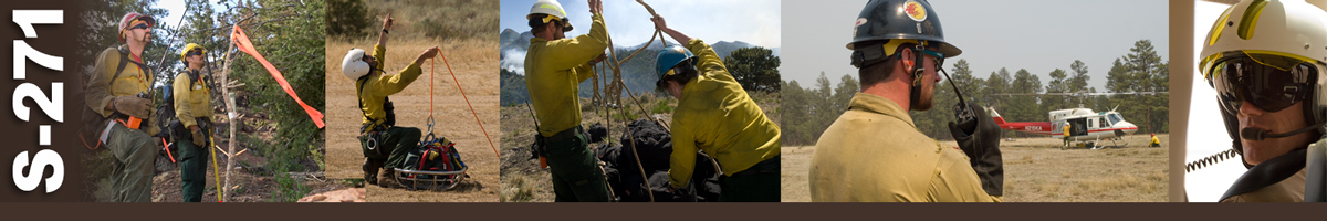 S-271 Decorative banner: An inset photo of a wildland fire contract project manager sitting at a desk looking at the camera with her arms folded. Background image is of a blurred out contract.