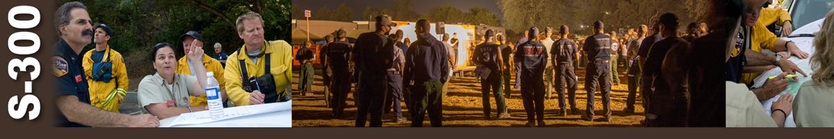Decorative banner: Three photos of wildland fire operations. Incident commanders and fire personnel stand over the hood of a truck reviewing maps and looking up toward the sky at something. Fire personnel gather for briefing at night to listen to plans from a man on a platform. Five fire personnel gather around a map laid out on the hood of a truck.