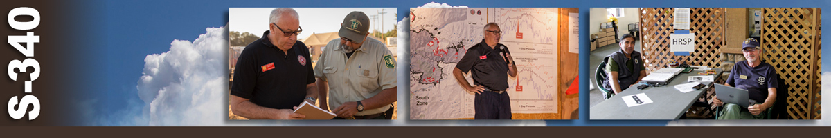 S-340 Decorative banner: Three photos of wildland fire human resource specialists (HRSP). An HRSP reviews paperwork with a forest service person. An HRSP stands in front of a large map speaking on a microphone. Two people sit at a table, one with a laptop, and an HRSP sign taped to the lattice wall behind them.