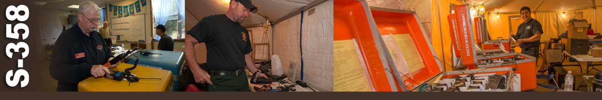 S-358 Decorative banner: Three wildland fire photos of radio communication operations. A technician checks a radio at the dispatch center. A radio technician checks a radio in an incident command tent. A technician checks boxes of radio equipment in a command tent on an incident.