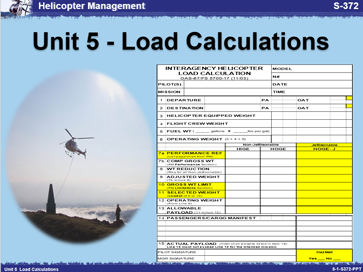 Slide 1 of Unit 5 for S-372 Helicopter Management