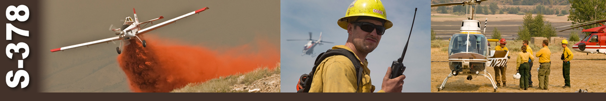 Decorative banner: Three photos of wildland fire air operations. A single engine airtanker drops a load of retardant on a hillside. A firefighter holds a handheld radio while looking at camera as helicopter departs in distance. Four firefighters listen to a helitack crew at the side of a helicopter..