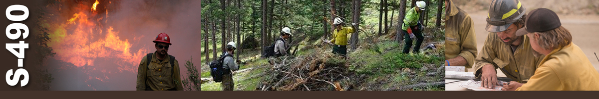 Decorative banner: Three photos of wildland fire operations. A firefighter walks away from a heavily burning area behind him. Four firefighters clean up and pile brush in a clearing. Two firefighters discuss a map while standing over the hood of a truck.
