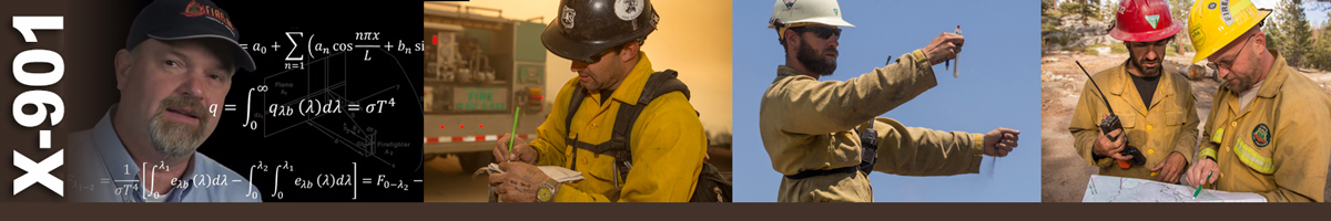 Decorative banner: Four photos of wildland firefighters using calculations to determine pump speed, wind speed and directions, and mapping specifics.