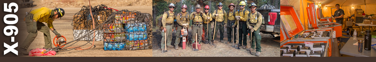 Decorative banner: Photo of a wildland firefighter working with ropes to secure a netted bundle of supplies. Photo of a group of wildland firefighters. Photo of radio supplies lined up in cases.