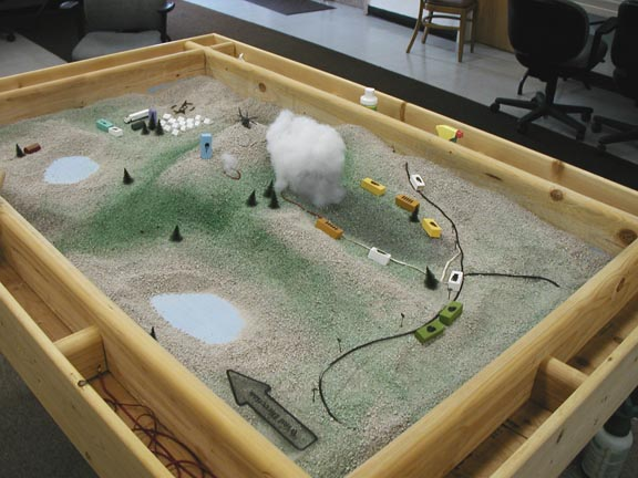Photo of a sandbox set up.