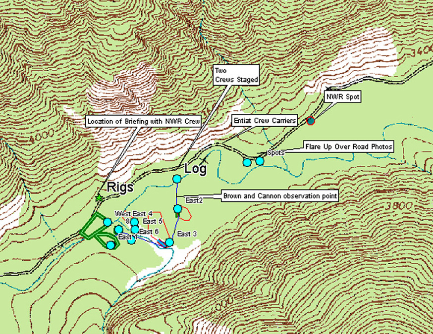Entiat Hotshot's briefing map showing spot fire locations